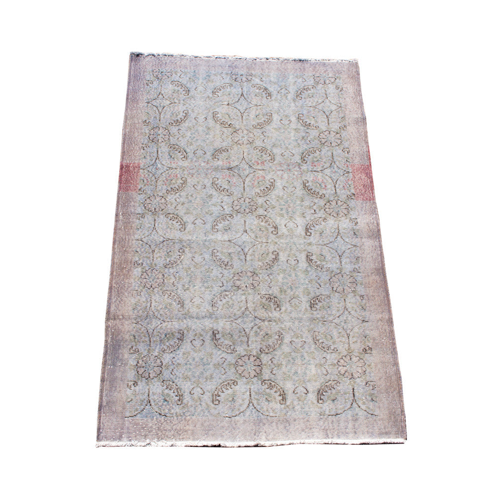 Muted Floral Vintage Turkish Overdyed Wool Rug