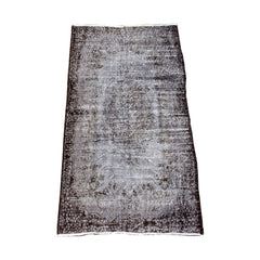 Charcoal & Chocolate Brown Vintage Turkish Overdyed Wool Rug
