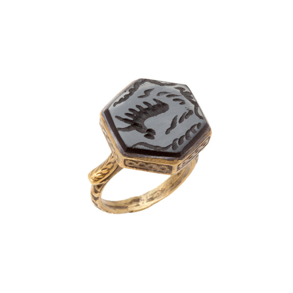Hexagonal Natural Stone & Brass Rings from Afghanistan (Five Styles)