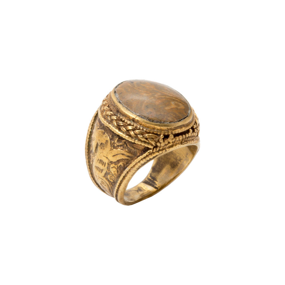 Natural Stone & Brass Signet Rings from Afghanistan (Three Styles)