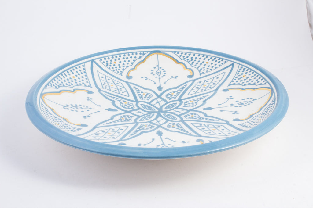 Handmade Zwak Pattern Glazed Moroccan Platter with 12K Gold | More Colors Available