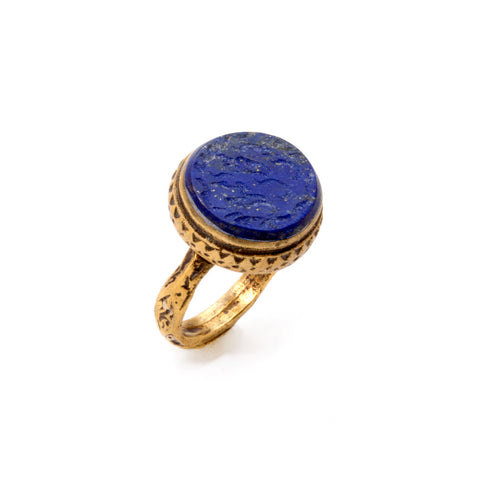 Cobalt Carved Stone & Brass Signet Ring from Afghanistan