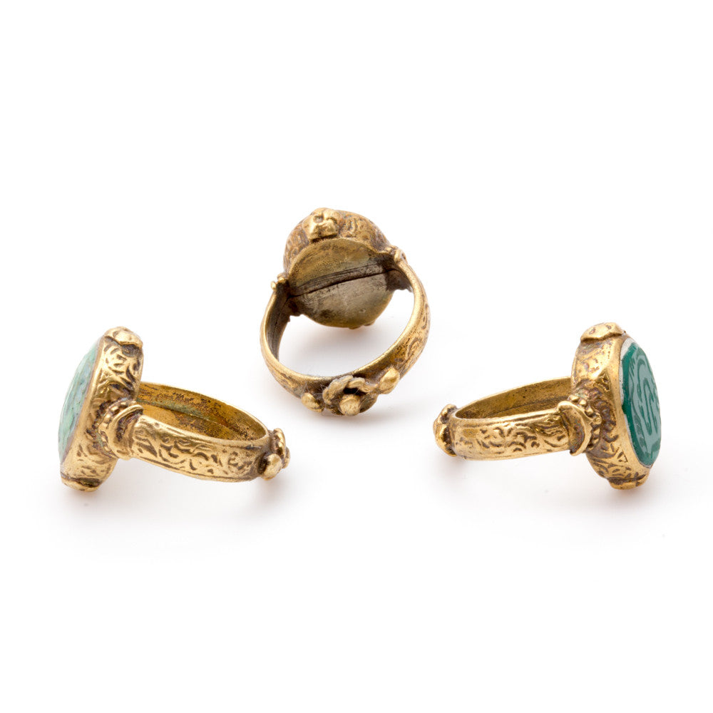 Natural Stone & Brass Oval Signet Rings from Afghanistan (Three Styles)