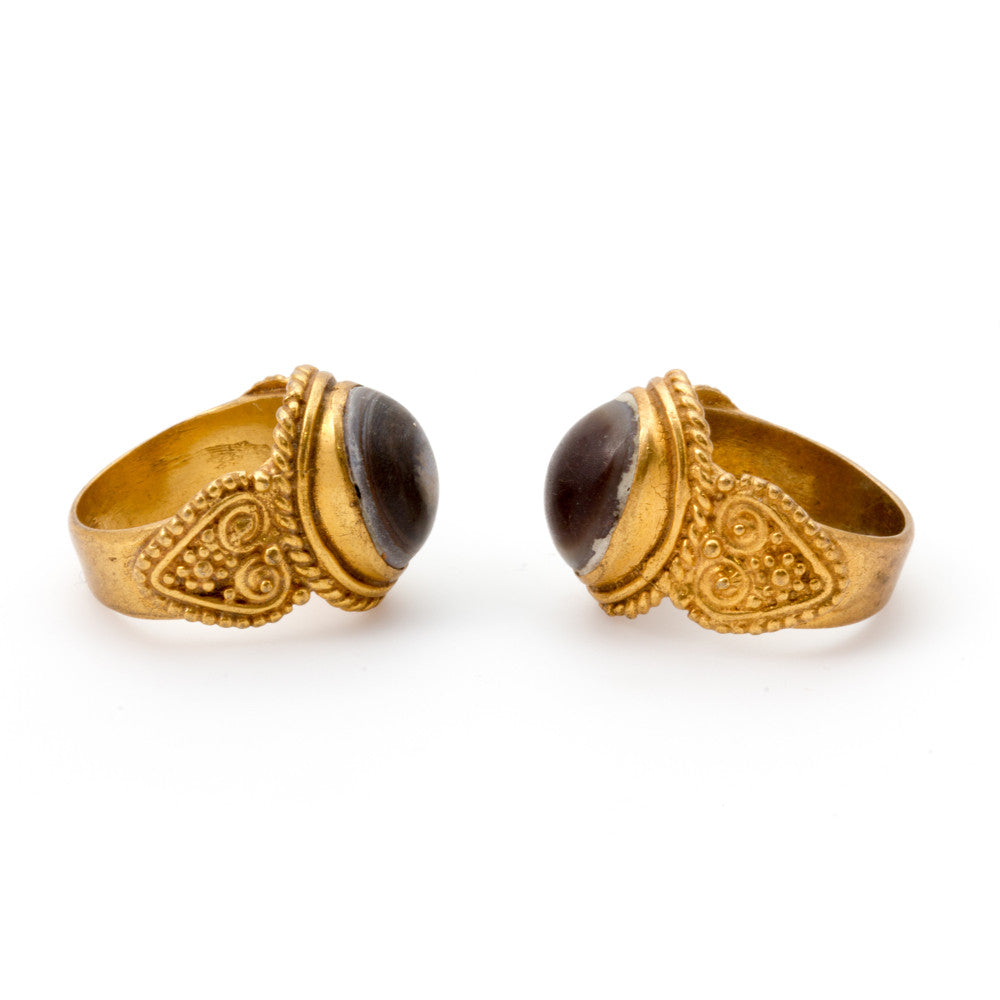 Stone Cabochon & Brass Signet Rings from Afghanistan