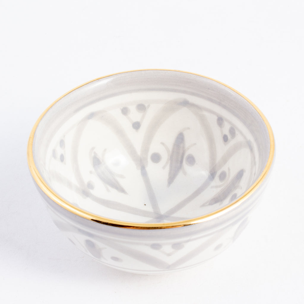 Handmade Zwak Pattern Glazed Moroccan Condiment Bowls with 12K Gold