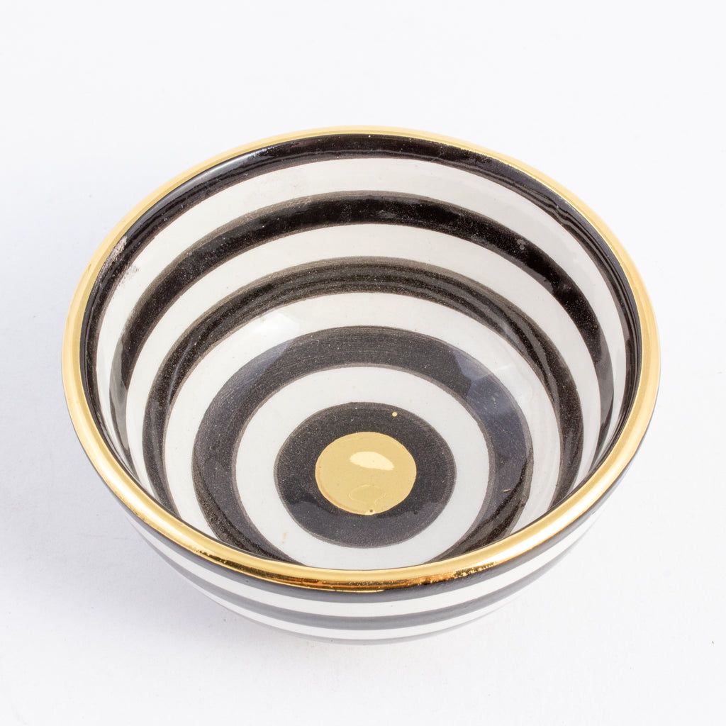 Handmade Stripe Pattern Glazed Moroccan Condiment Bowls with 12K Gold
