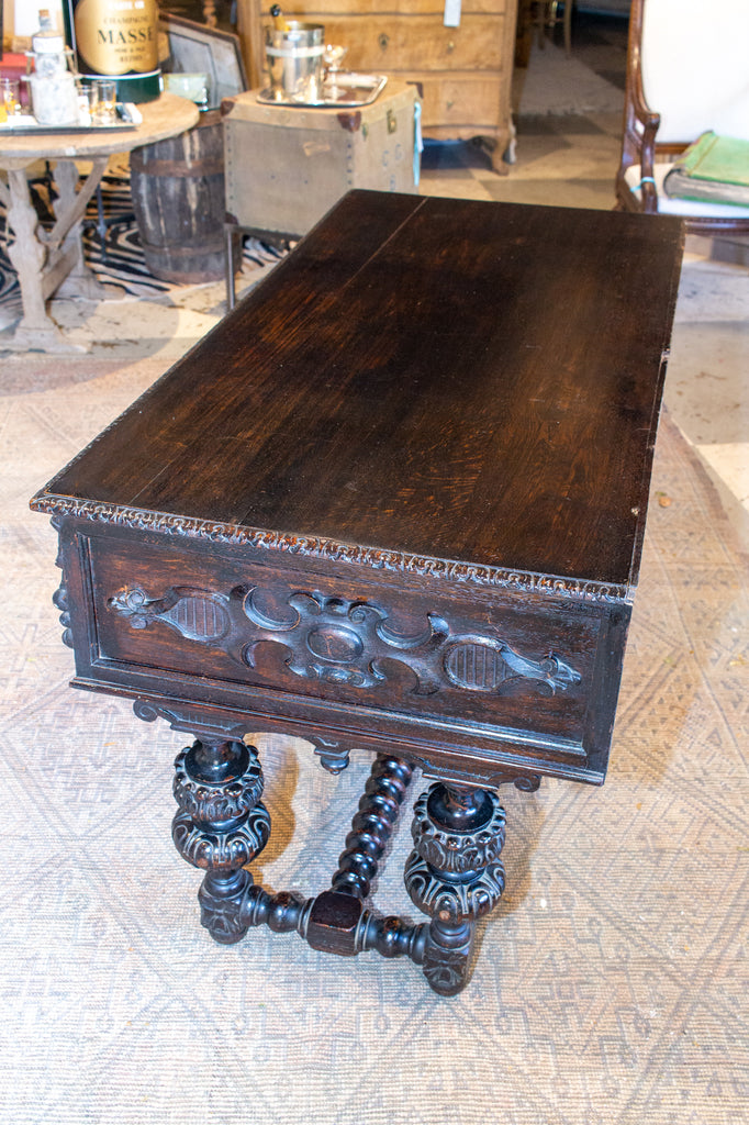 Antique Jacobean Style Ebonized Wood Desk, circa 1870