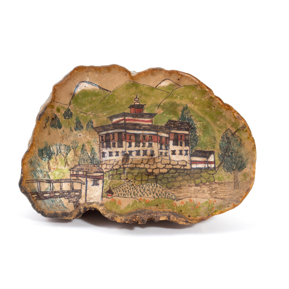 Vintage Hand-Painted Petrified Tree Mushroom Art from Bhutan