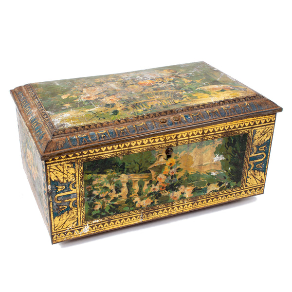 Decorated French Art Nouveau Metal Box found in France