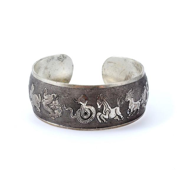 Cambodian Zodiac Metal Cuff Bangle