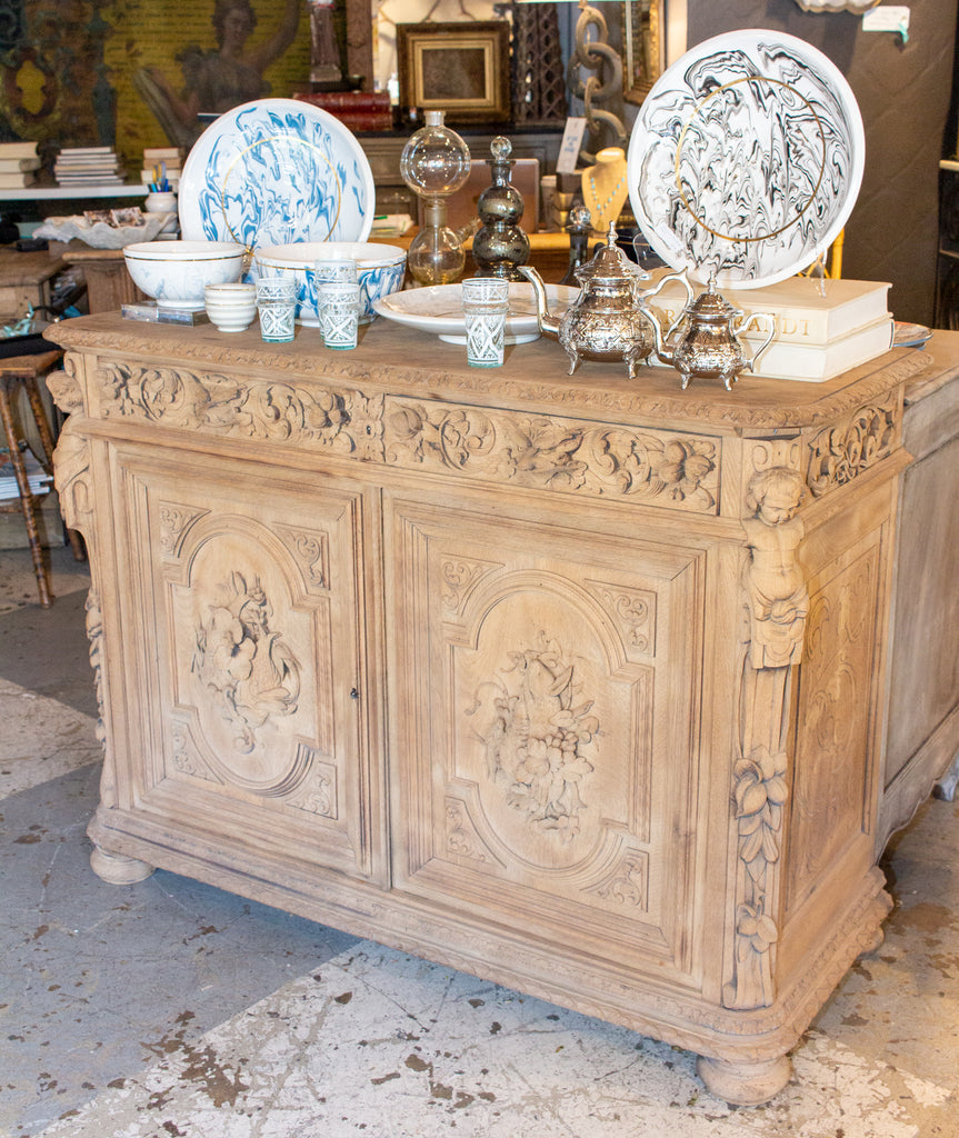 Antique French Carved Oak Hunt Buffet with Interior Shelves