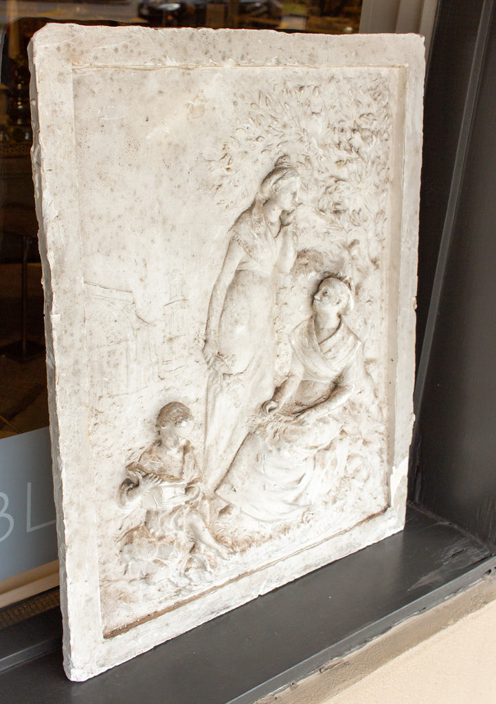 Signed Antique French Plaster Relief with Garden Scene and Three Figures