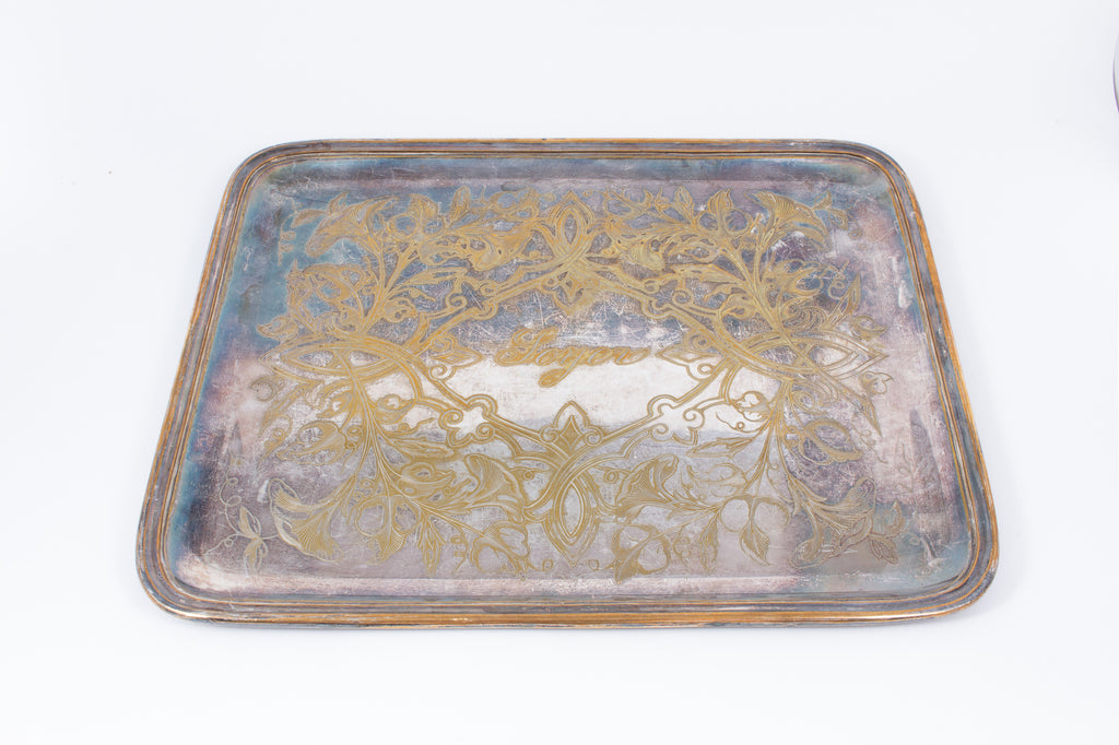 Engraved Antique French Adolphe Erenard Art Nouveau Silver-Plate Tray