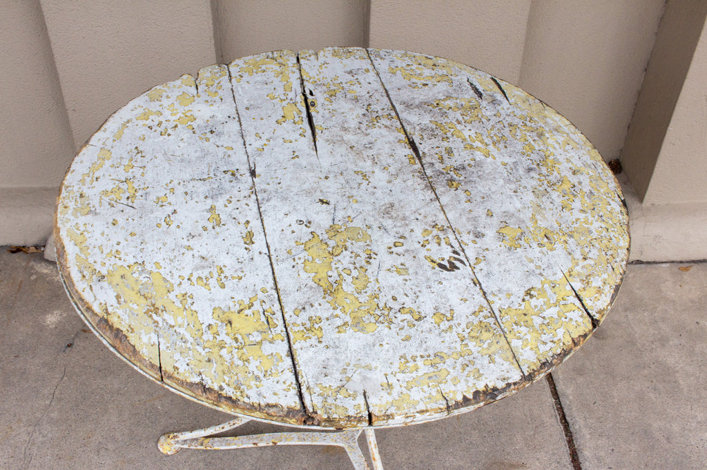 Antique French Distressed Iron and Painted Wood Garden Bistro Table