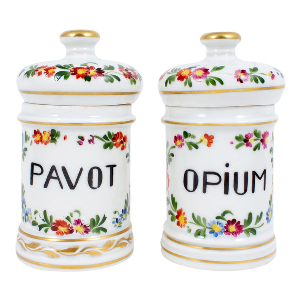 A Pair of Antique Limoges Poppy & Opium Apothecary Jars