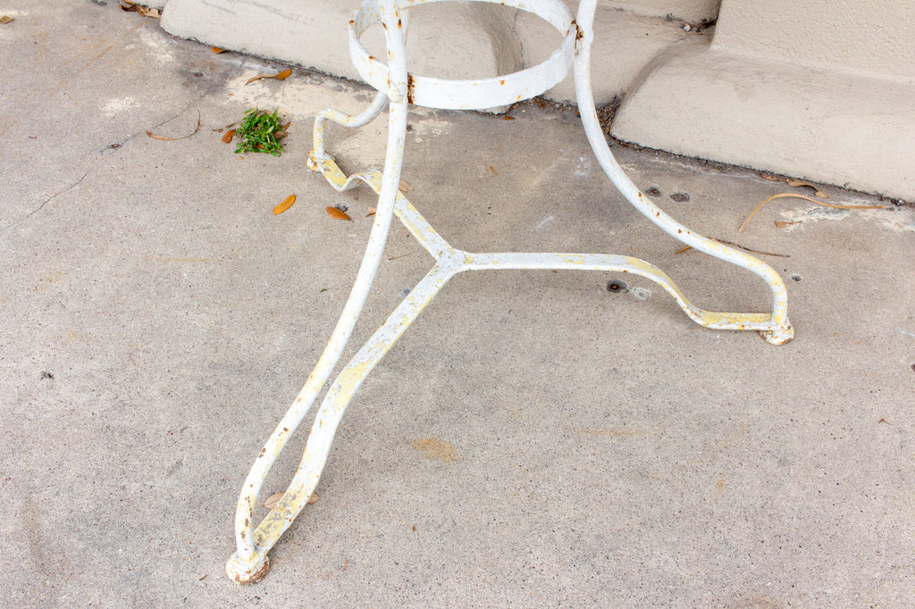 Antique French Painted Iron Bistro Table with Wood Top in Greige