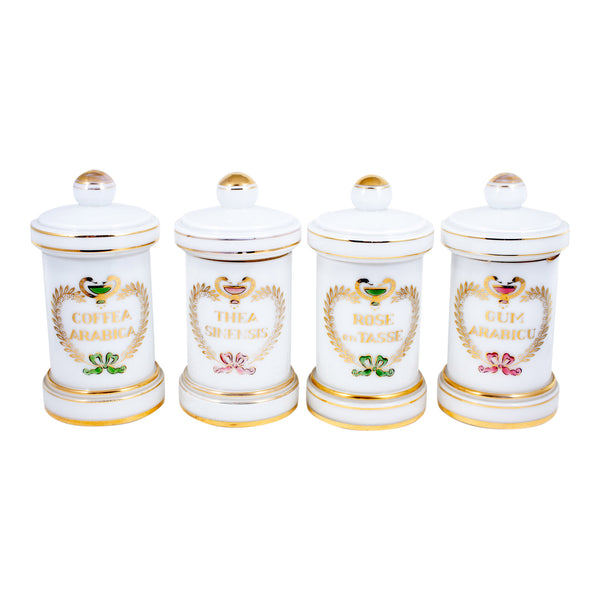 Antique French White Opaline Glass Apothecary Jars (Set of Four)