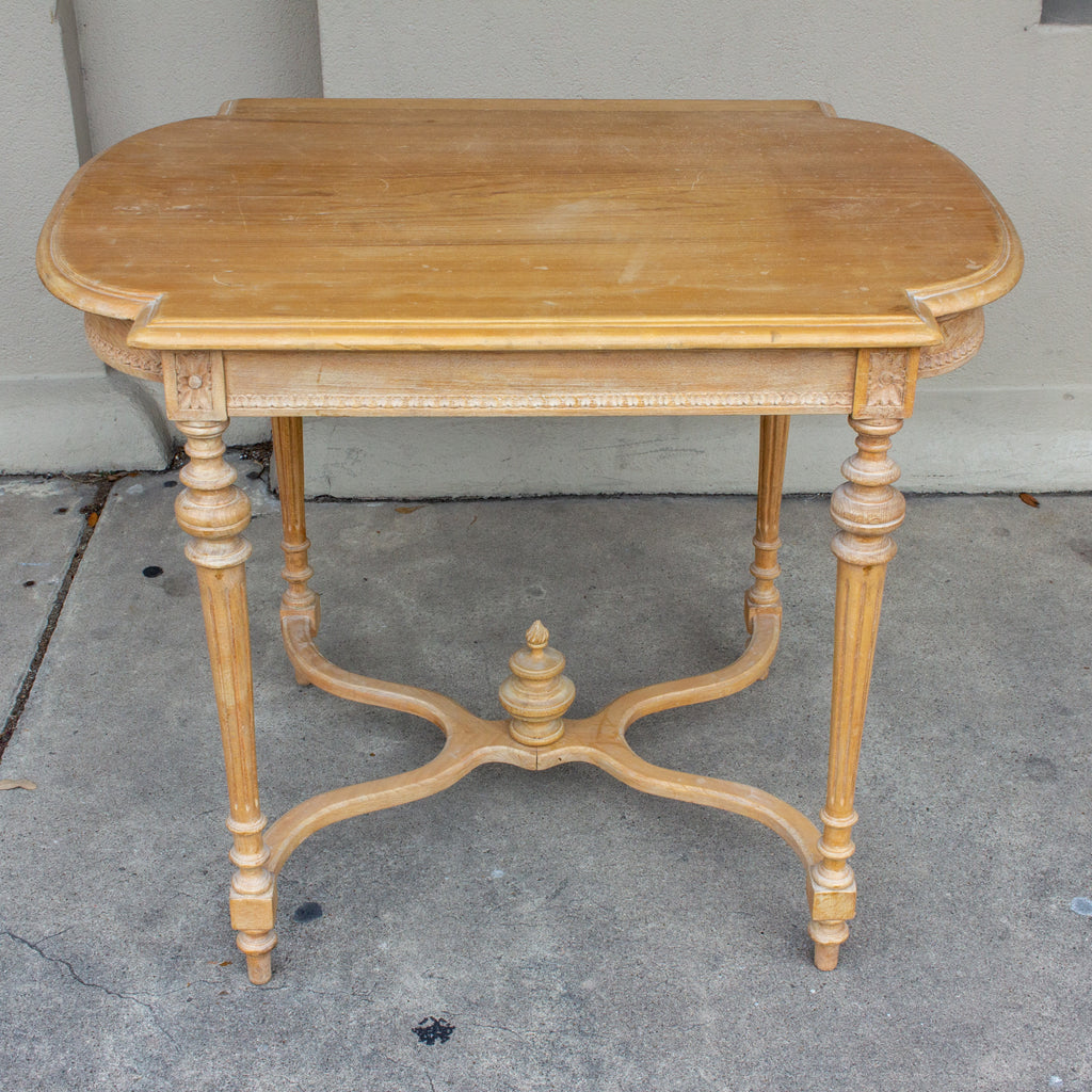Antique Belgian Blond Wood Louis XVI Style Side Table