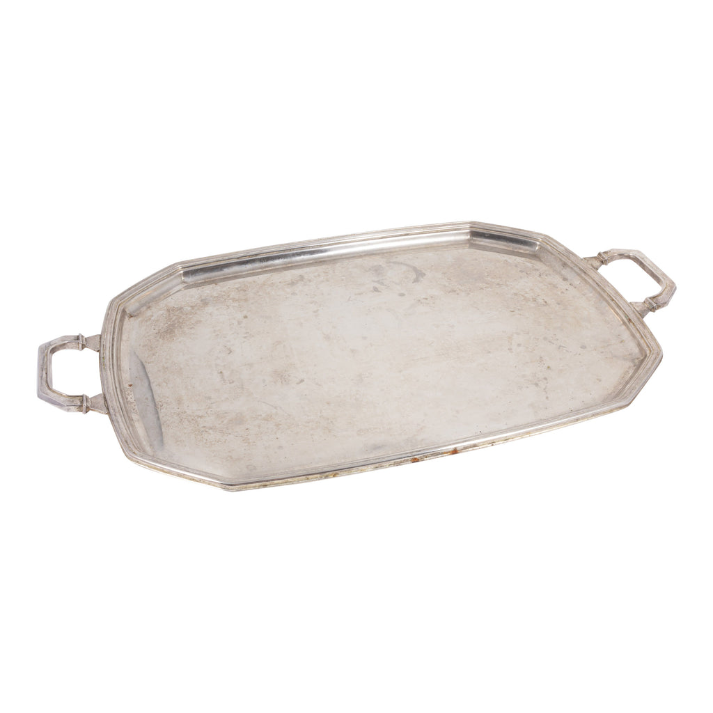 Large Vintage Silver-Plate Tray with Handles found in France