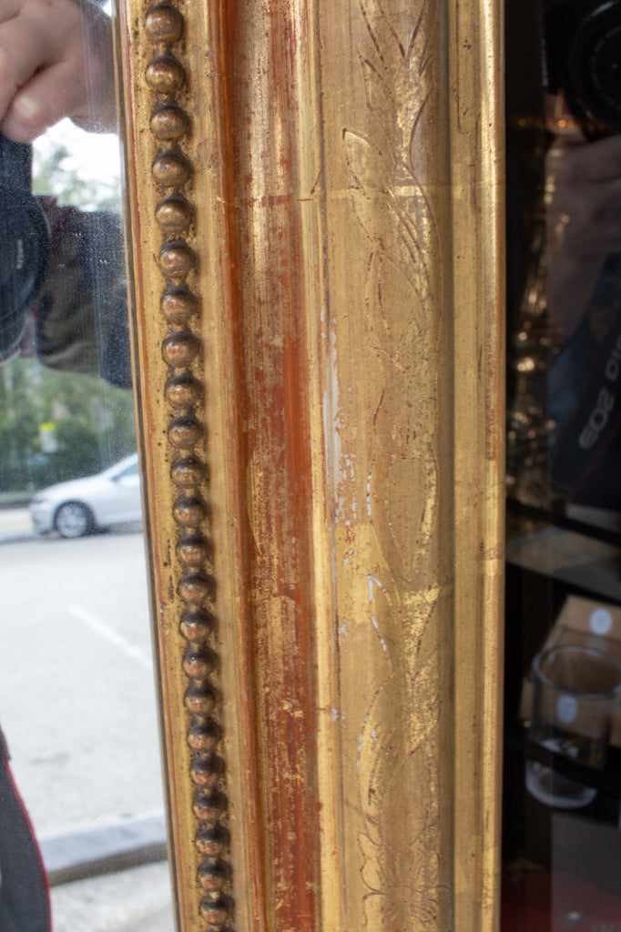 Antique French Gilt Louis Philippe Mirror with Floral Details