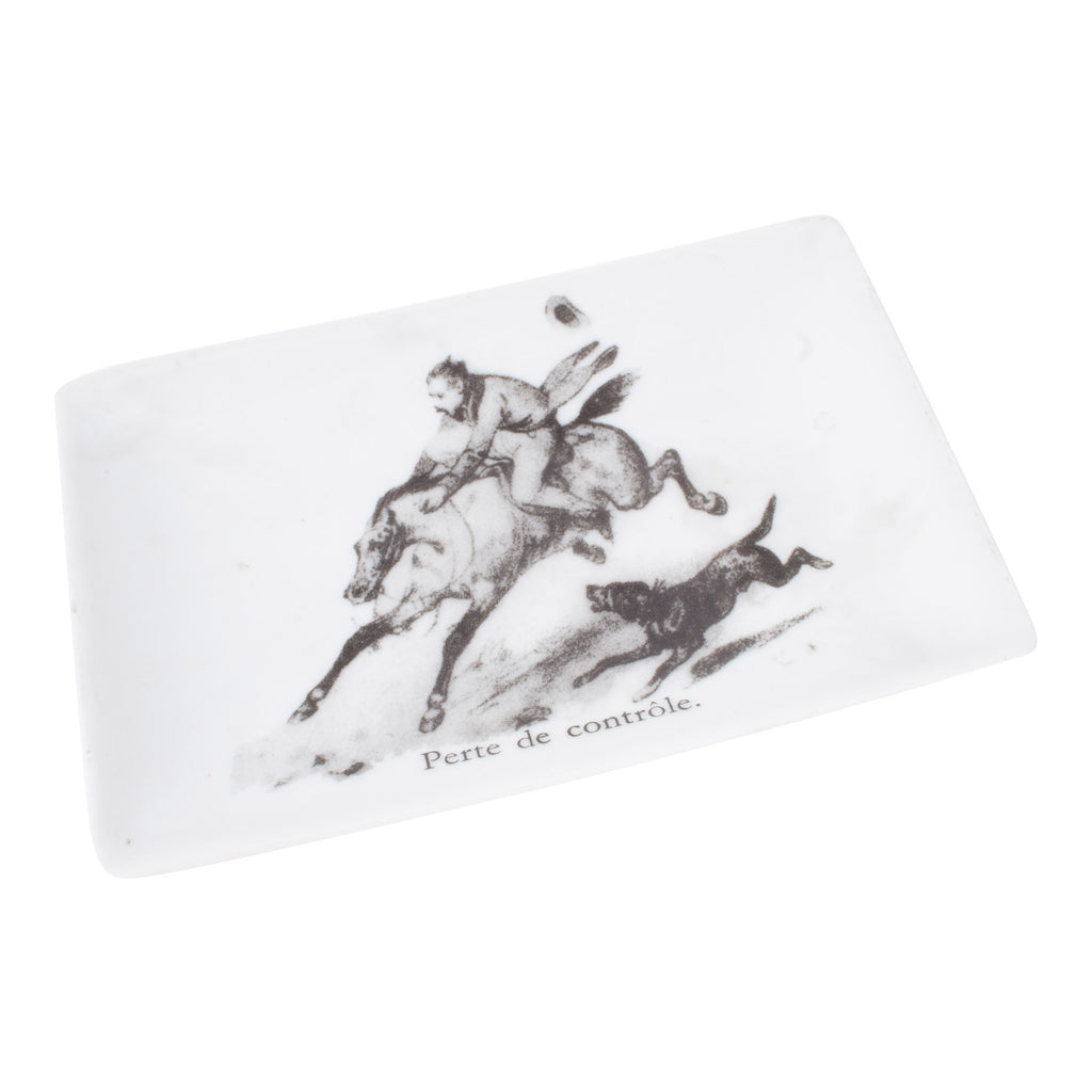 Vintage Ceramic dish of Horse Rider with French Text