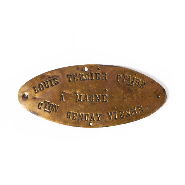 Vintage Stamped Brass Oval Tag found in France