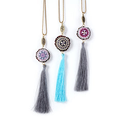 Thai Mandala Tassel Necklaces on Brass Shot Bead Chain