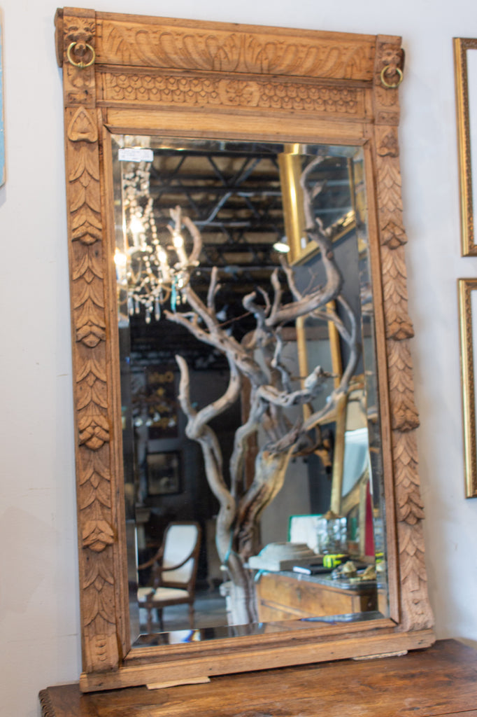 1920s Belgian Malinois Carved Wood Mirror with Brass Ring Detail & Beveled Glass