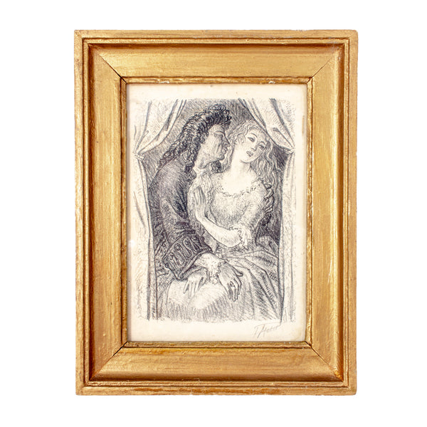 Small Antique Signed French Etching in Gilt Frame