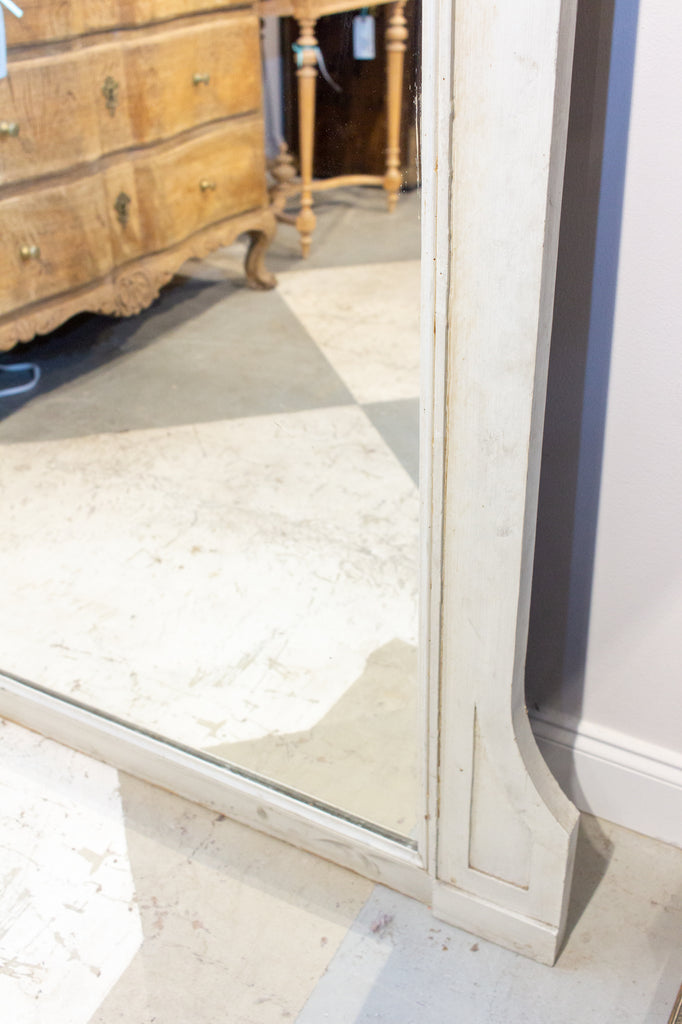 Large Antique French Painted Floor Mirror in Antiqued White