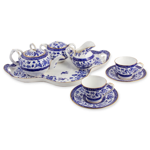 Antique French Blue & White Porcelain Tea Set