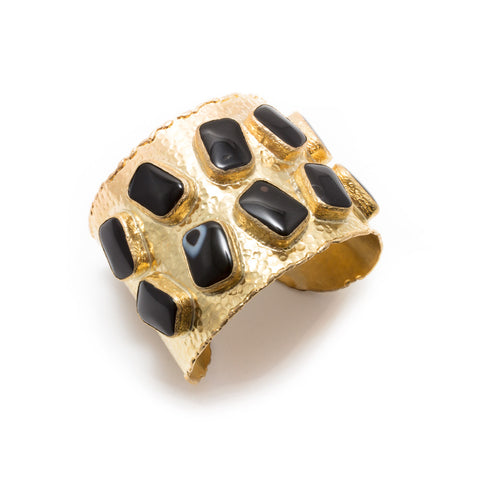 Natural Onyx Brass Cuff from Istanbul