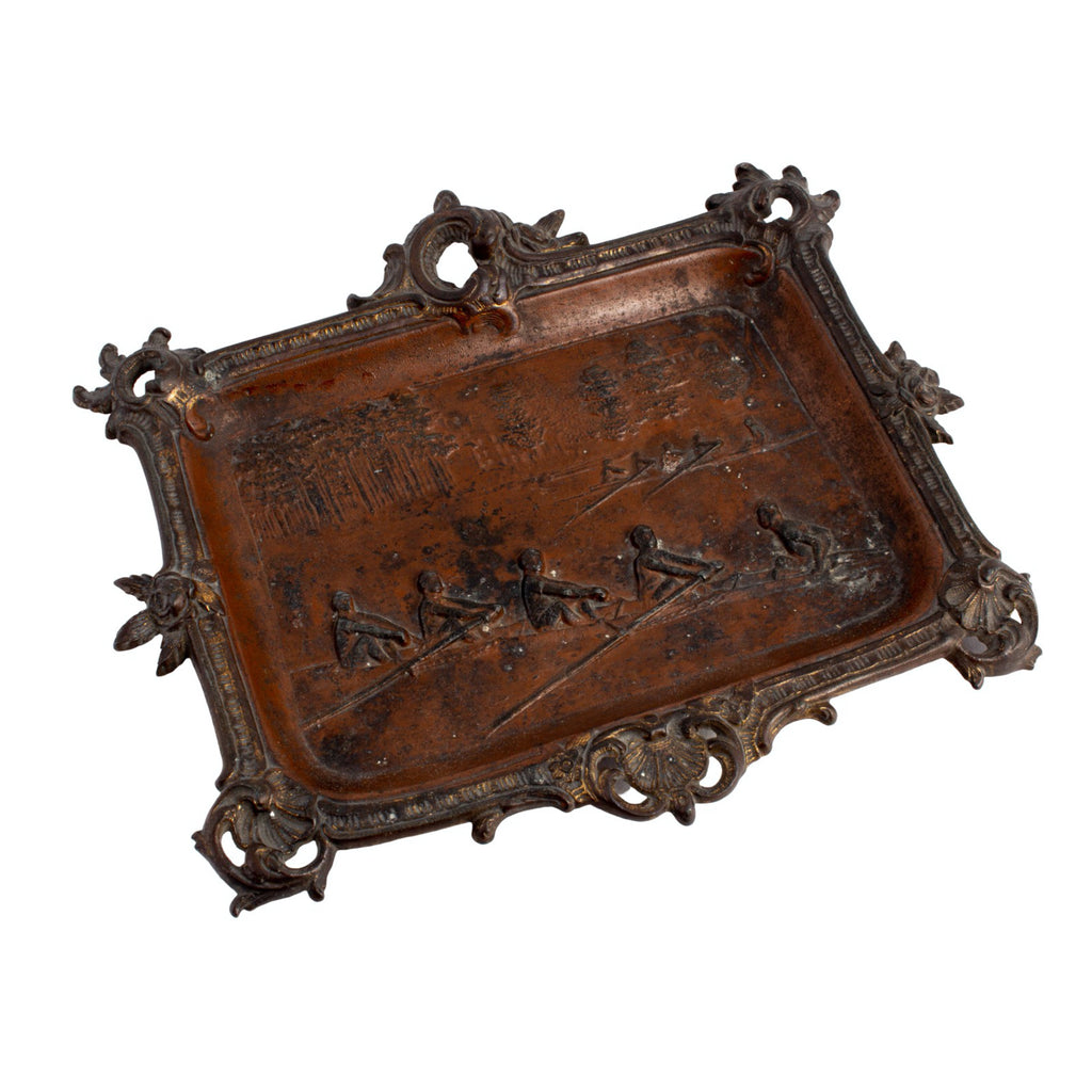 Antique French Bronze Tray with Rowing Image