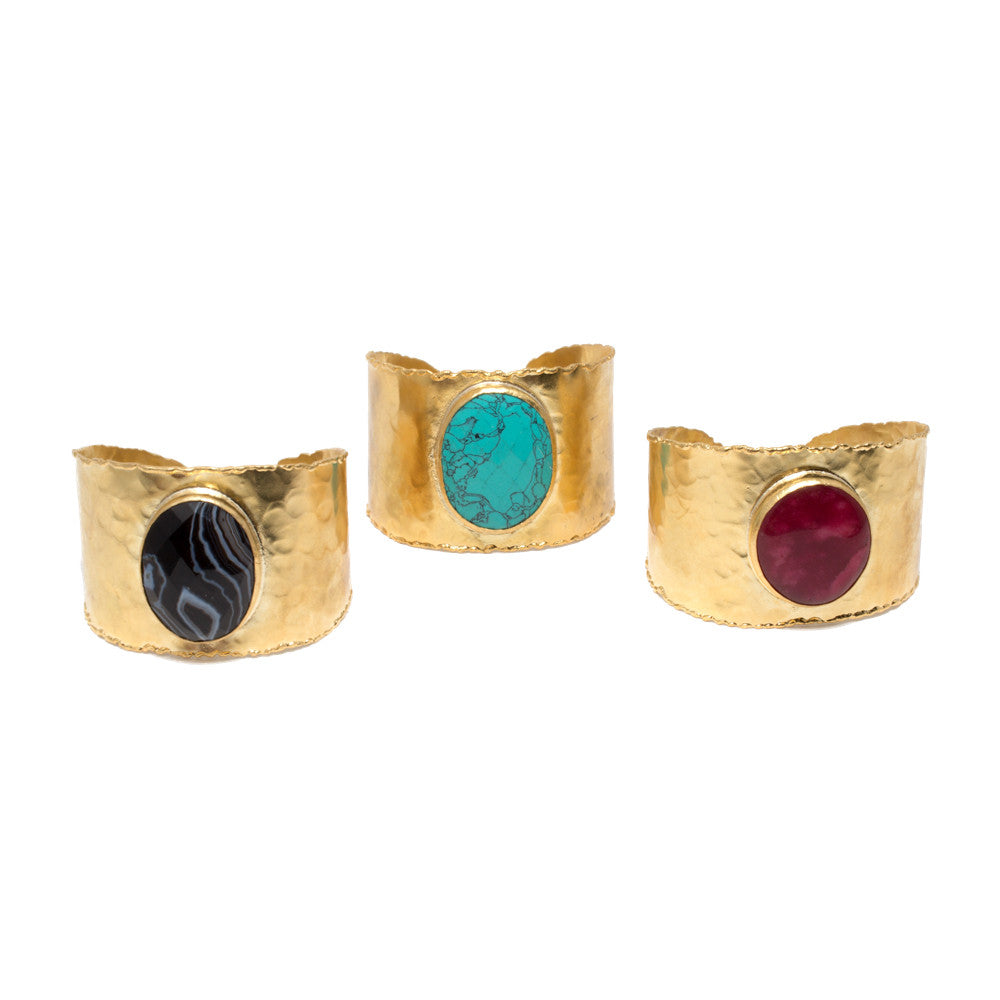 Natural Stone & Brass Cuffs from Istanbul (Three Styles)