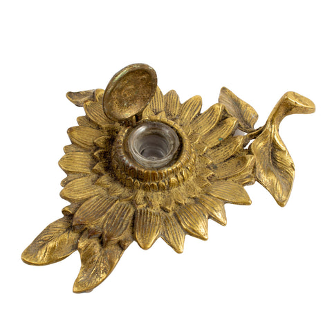 Antique French Brass Sunflower Inkwell