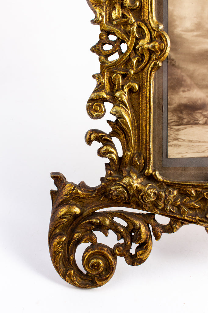 Antique French Art Nouveau Brass Tabletop Frame with Photograph