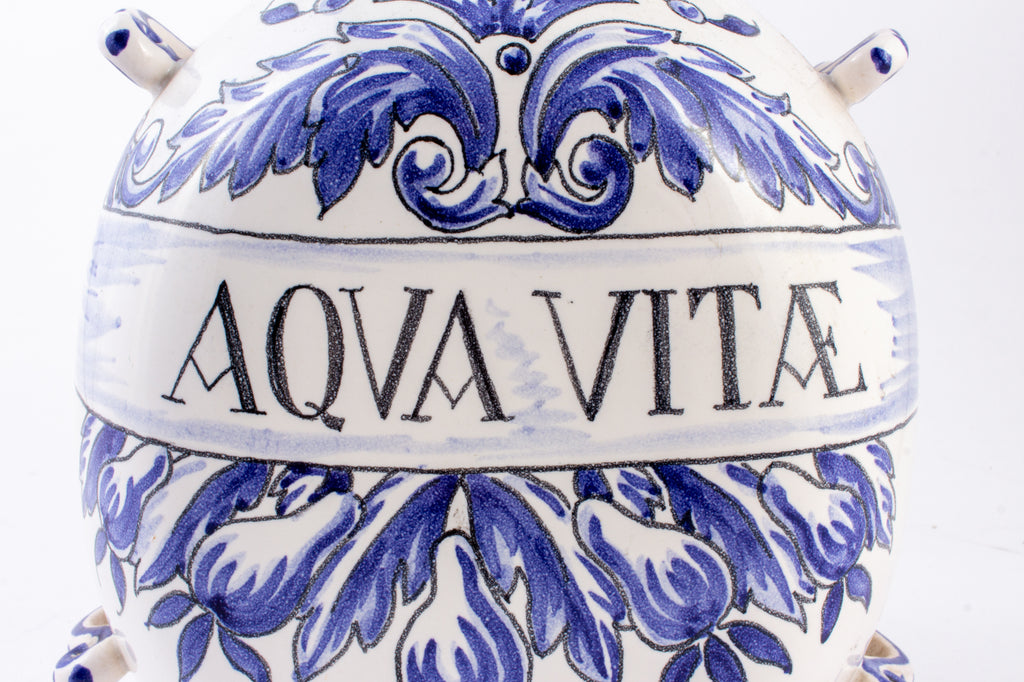 "Antique Italian Blue & White Ceramic ""Aqua Vitæ"" Jug"