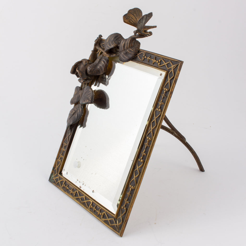 Antique French Art Nouveau Beveled Mirror with Dragonfly Detail