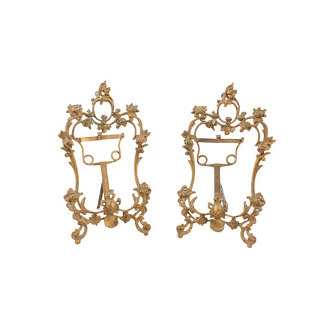 Antique French Brass Table Top Frame Pair