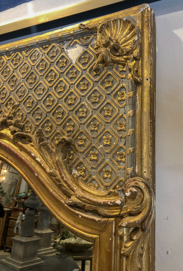 Large Antique Distressed French Trumeau Gilt Frame with New Mirror