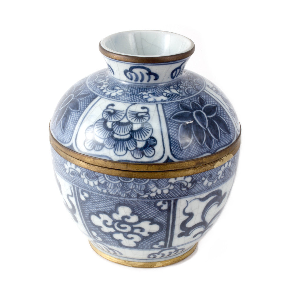 Blue & White Porcelain Floral Rice Dish from Thailand