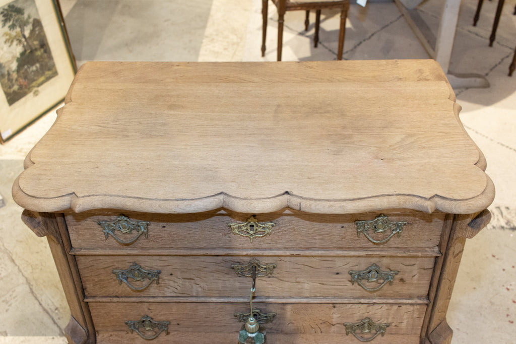 Small Antique French Carved Oak Four-Drawer Commode with Key
