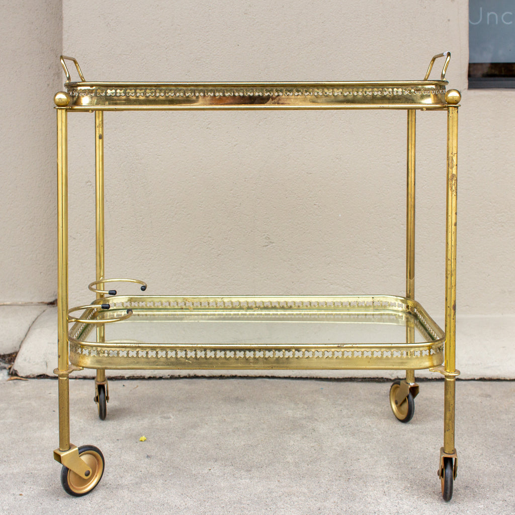 Art Deco French Brass and Glass Bar Cart with Tray Top on Casters