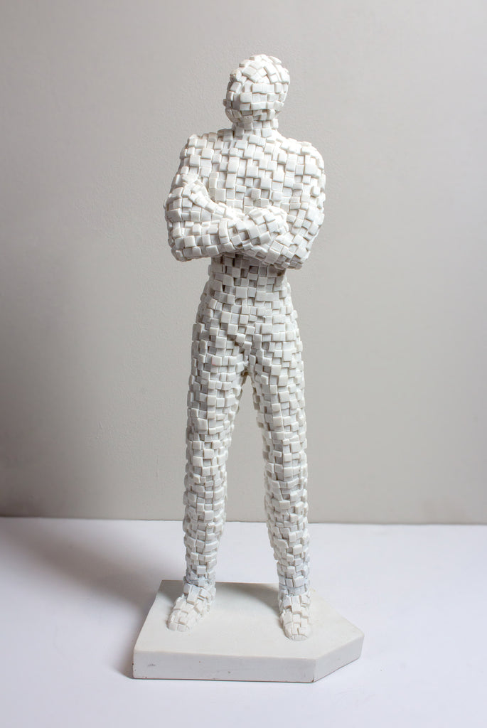 French Standing Mosaic Man Sculpture in White