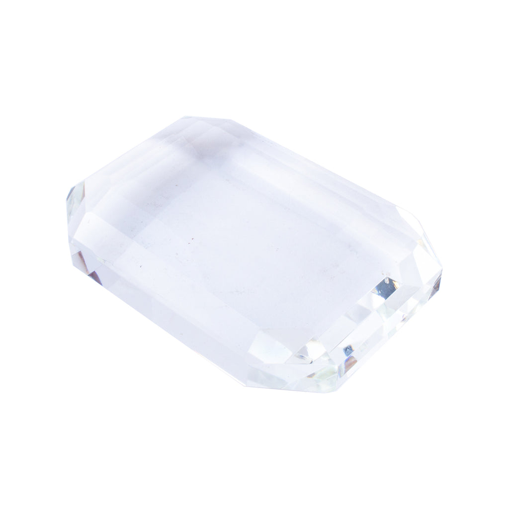 Vintage Emerald Cut Crystal Paperweight found in France