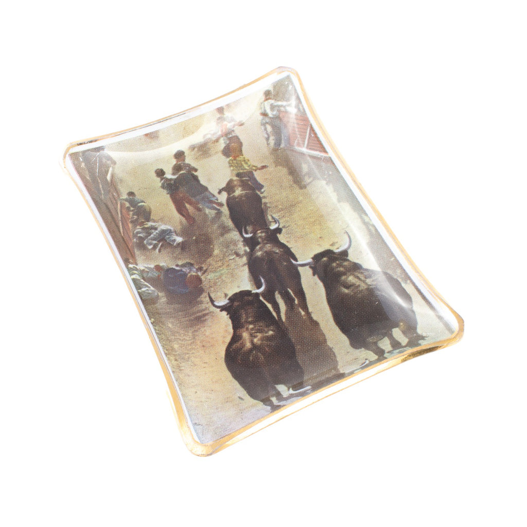 Vintage Glass Dish with Running of the Bulls Printed Image
