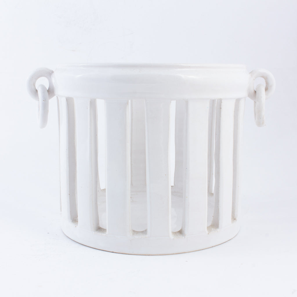 Vintage French Ceramic Cache Pot or Plant Holder in Glossy White