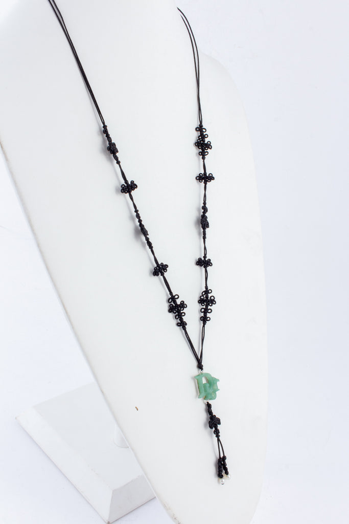 Vintage Jade Dior Necklace on Nylon Lariat Necklace with Seed Pearls