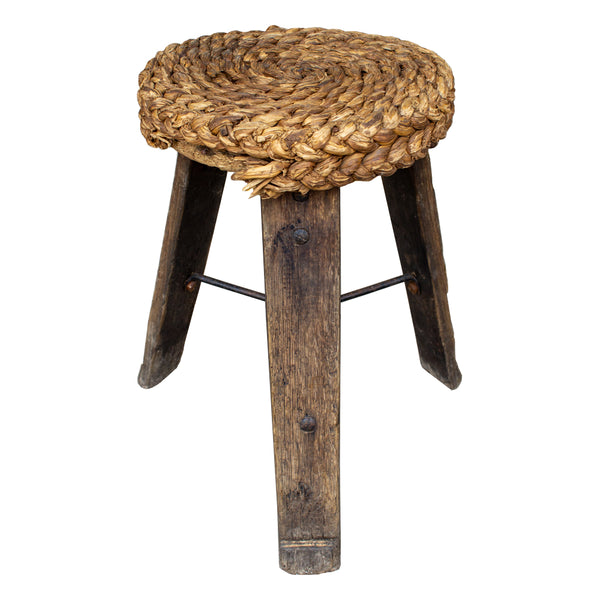 "Vintage French ""Milking Stools"" with Braided Seats 