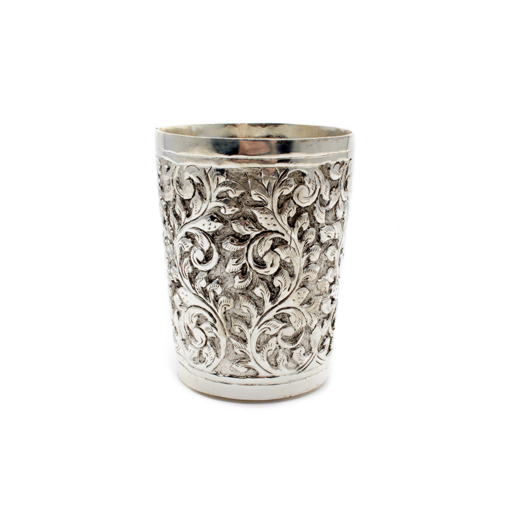 3-Inch Carved Silver Cup from Cambodia